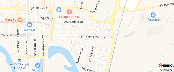 Заречная улица на карте поселка Бредов с номерами домов