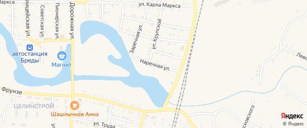 Наречная улица на карте поселка Бредов с номерами домов