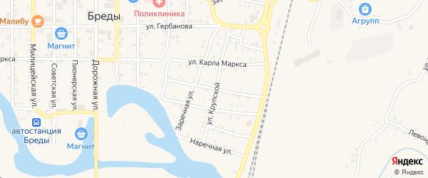 2-я Набережная улица на карте поселка Бредов с номерами домов