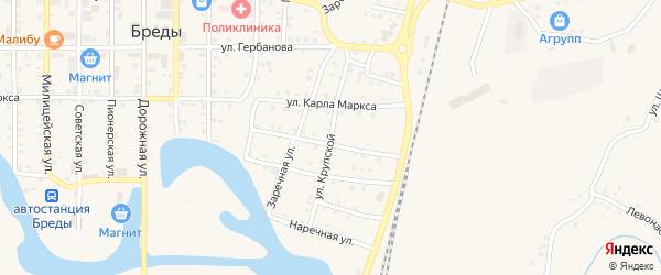 Улица Крупской на карте поселка Бредов с номерами домов
