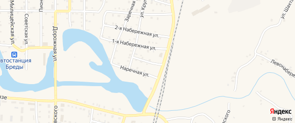 Улица Новостройка на карте поселка Бредов с номерами домов