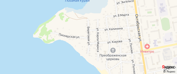 Береговая улица на карте Чебаркуля с номерами домов