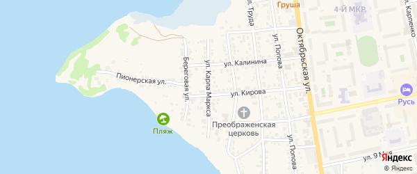 Улица Карла Маркса на карте Чебаркуля с номерами домов