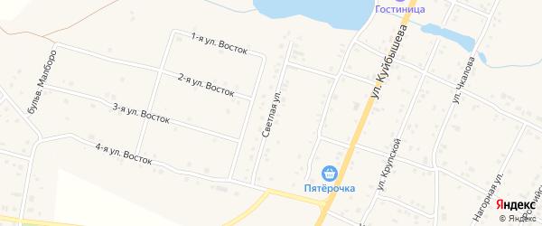 Светлая улица на карте деревни Малково с номерами домов