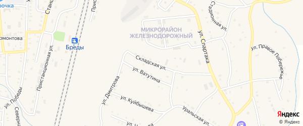 Складская улица на карте поселка Бредов с номерами домов