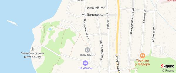 Больничная улица на карте Чебаркуля с номерами домов