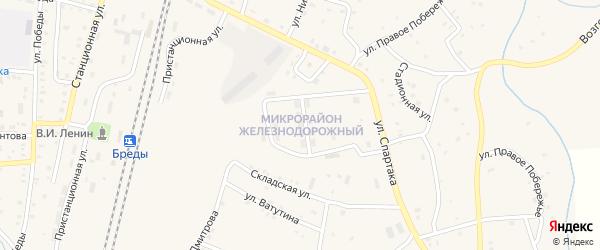 Железнодорожный микрорайон на карте поселка Бредов с номерами домов
