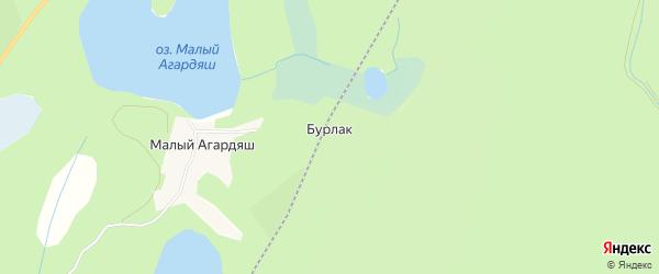 Карта поселка Бурлака города Карабаша в Челябинской области с улицами и номерами домов