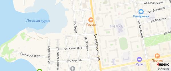 Улица Попова на карте Чебаркуля с номерами домов