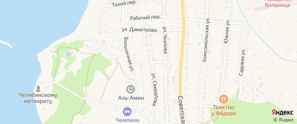 Проходной переулок на карте Чебаркуля с номерами домов