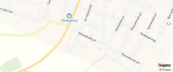 Урожайная улица на карте деревни Малково с номерами домов