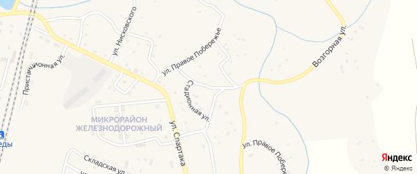 Улица Правое побережье на карте поселка Бредов с номерами домов