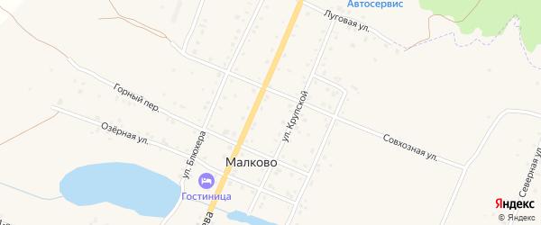 Совхозная улица на карте деревни Малково с номерами домов
