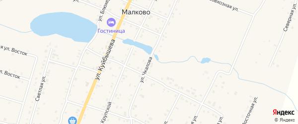 Улица Чкалова на карте деревни Малково с номерами домов