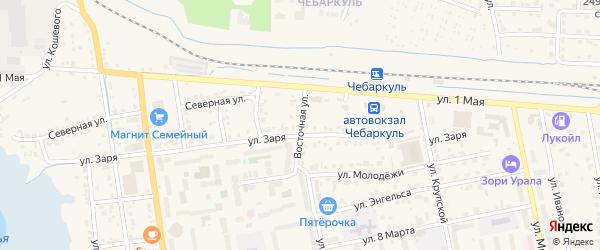 Восточная улица на карте Чебаркуля с номерами домов