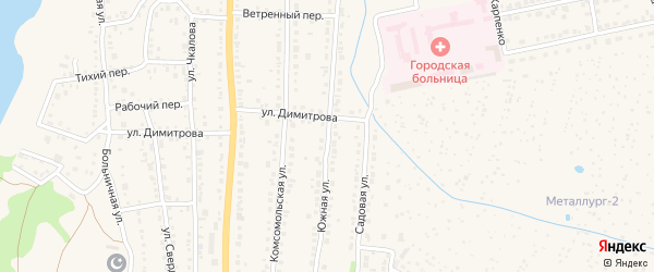 Южная улица на карте Чебаркуля с номерами домов
