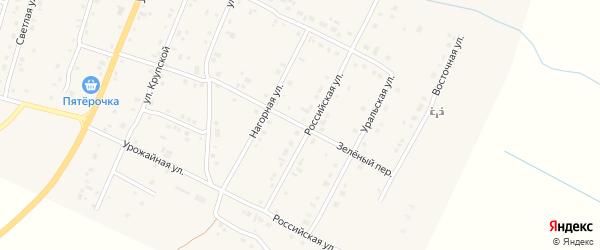Зеленый переулок на карте деревни Малково с номерами домов