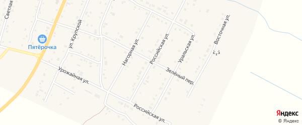 Российская улица на карте деревни Малково с номерами домов