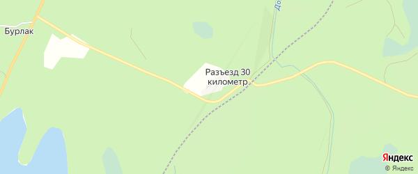 Карта поселка 30 км города Карабаша в Челябинской области с улицами и номерами домов