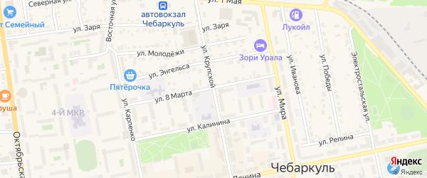 Улица Крупской на карте Чебаркуля с номерами домов