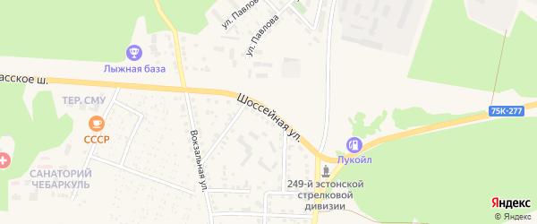 Шоссейная улица на карте Чебаркуля с номерами домов