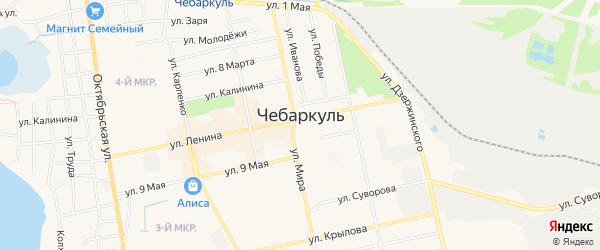Карта Южного микрорайона города Чебаркуля в Челябинской области с улицами и номерами домов