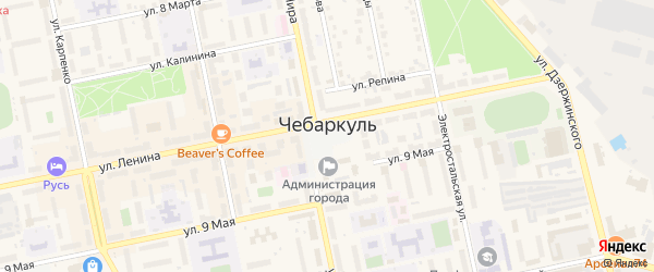 Территория б/о Уральские Зори на карте Чебаркуля с номерами домов