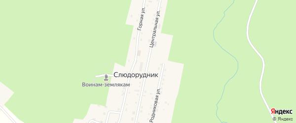 Центральная улица на карте поселка Слюдорудника с номерами домов