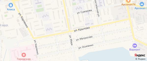 Улица Крылова на карте Чебаркуля с номерами домов