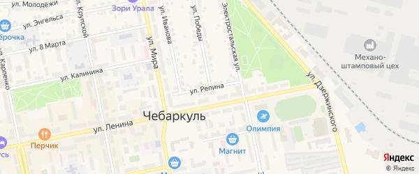 Улица Репина на карте Чебаркуля с номерами домов