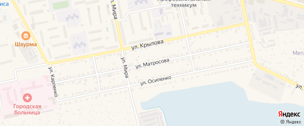 Улица Матросова на карте Чебаркуля с номерами домов
