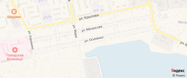 Улица Осипенко на карте Чебаркуля с номерами домов