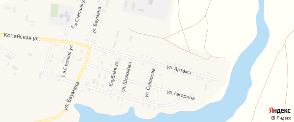 Улица Артема на карте поселка Бредов с номерами домов