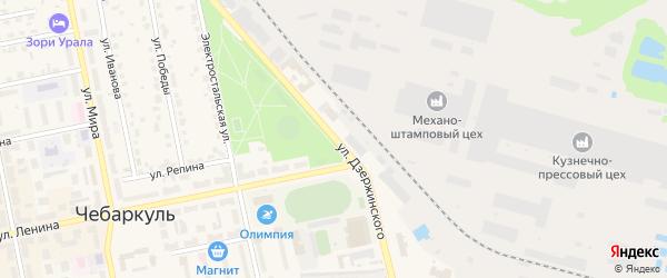 Улица Дзержинского на карте Чебаркуля с номерами домов