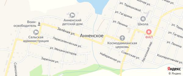 Угловой переулок на карте Анненского села с номерами домов