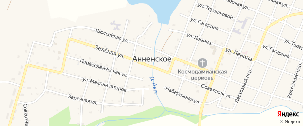 Набережная улица на карте Анненского села с номерами домов