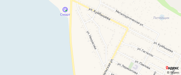 Улица Некрасова на карте Чебаркуля с номерами домов