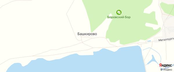 Карта деревни Башкирово в Челябинской области с улицами и номерами домов