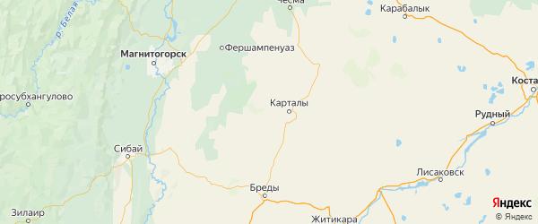 Карта Карталинского района Челябинской области с городами и населенными пунктами