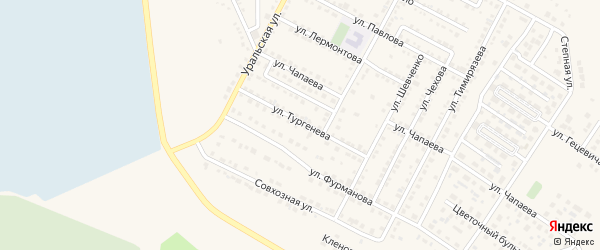 Улица Тургенева на карте Чебаркуля с номерами домов