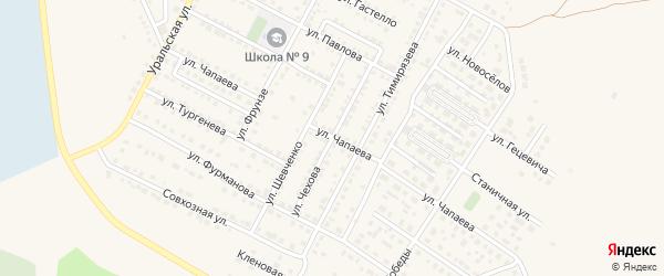 Улица Чехова на карте Чебаркуля с номерами домов