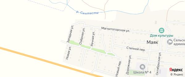 Речная улица на карте поселка Маяка с номерами домов