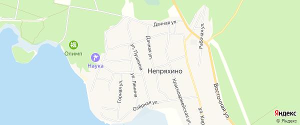 Карта села Непряхино в Челябинской области с улицами и номерами домов