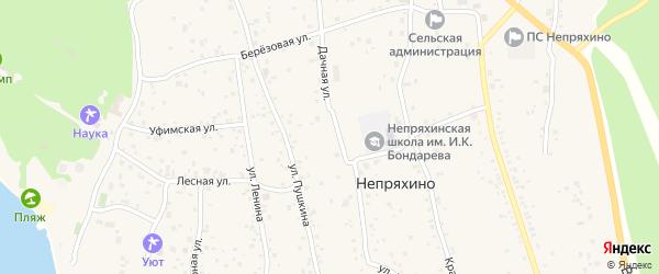 Шоссейная улица на карте села Непряхино с номерами домов