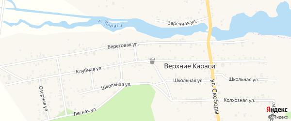Клубная улица на карте деревни Верхние Караси с номерами домов