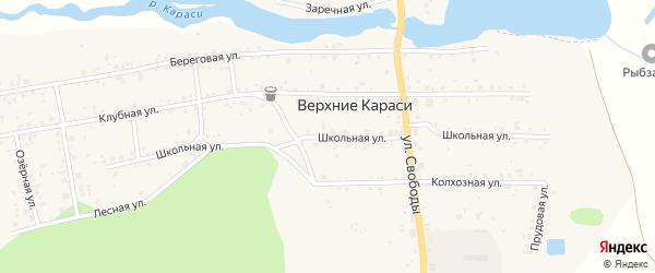Школьная улица на карте деревни Верхние Караси с номерами домов