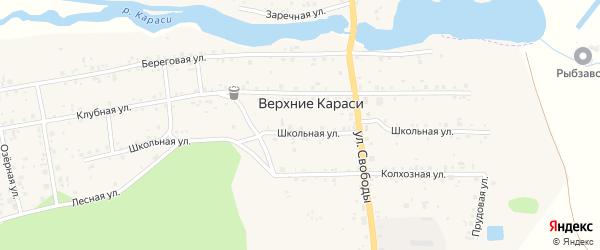 Лесная улица на карте деревни Верхние Караси с номерами домов
