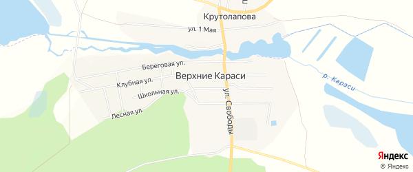 Карта деревни Верхние Караси в Челябинской области с улицами и номерами домов