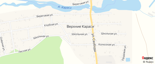 Озерная улица на карте деревни Верхние Караси с номерами домов