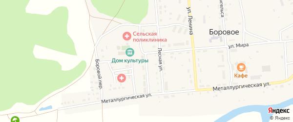 Солнечная улица на карте Борового села с номерами домов